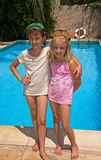 Two Sisters by the Pool Royalty Free Stock Photography