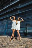 Two  sisters posing outdoor Royalty Free Stock Images