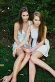 Two  sisters posing outdoor Royalty Free Stock Photo