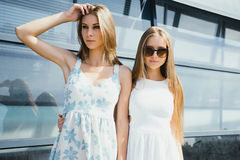 Two  sisters posing outdoor Royalty Free Stock Photos