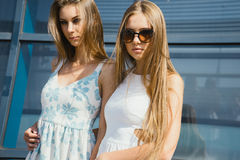Two  sisters posing outdoor Royalty Free Stock Photography