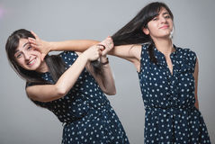 Two sisters pulling hair Stock Photography