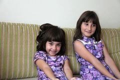 Two sisters. In purple dresses royalty free stock image