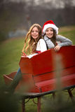 Two Sisters in Red Sleigh Royalty Free Stock Photography