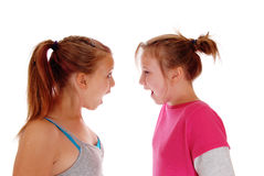 Two sisters shouting at each other. Royalty Free Stock Photo