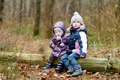 Two sisters sitting on a tree Royalty Free Stock Photos