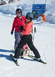 Two sisters skiing in Austria Stock Photo