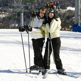 Two sisters skiing together Royalty Free Stock Images