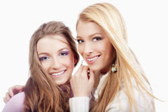 Two sisters smiling Stock Photo