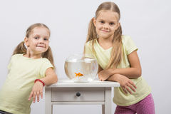Two sisters stand at the small fishbowl with goldfish. Two happy girls four and six years are at the table on which stands a fishbowl with goldfish Stock Photos