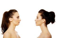 Two sisters standing face to face. Stock Photography