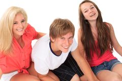 Two sisters with their brother Royalty Free Stock Photography