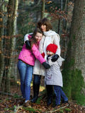 Two sisters with their mother nature portarit Stock Image