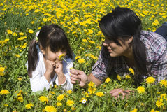 Two sisters together. Two sisters playing in the meadow of spring Stock Photography