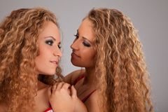 Two sisters twin women friends Royalty Free Stock Photography