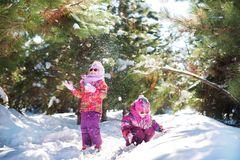 Two sisters in bright pink jackets in the winter against the background of snow-covered trees. Girls jump, play with snow. Two sisters twins in bright pink Stock Photo