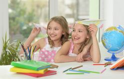 Two sisters twins having fun Royalty Free Stock Photos