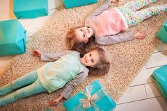 Two sisters twins for the New Year and Christmas royalty free stock photos