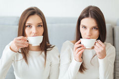 Two sisters twins sitting on sofa and drinking coffee Stock Image