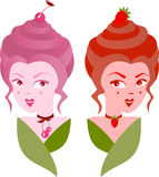Two sisters, twins, strawberry and cherry in  vector Stock Images