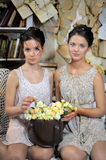 Two sisters in vintage dress Royalty Free Stock Photos