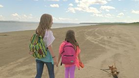 Two sisters are walking along the beach. The children on a leash have two small dogs toy terrier. One girl is a teenager, in the second a very small child stock footage