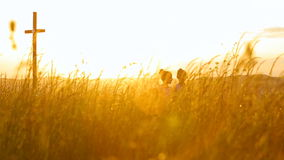 Two sisters walking in a field during sunset holding gands. HD stock video footage