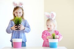 Two sisters wearing bunny ears on Easter Royalty Free Stock Images