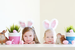 Two sisters wearing bunny ears on Easter Royalty Free Stock Photography