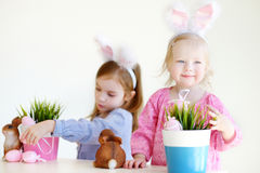 Two sisters wearing bunny ears on Easter Stock Photography