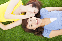 Two sisters whispering gossip on the grass. In the park stock photography