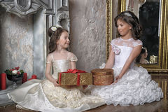Two sisters in white evening dresses Stock Images