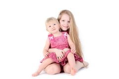 two sisters 9 year and  1  year old Stock Photography