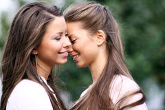 Two sisters young women Royalty Free Stock Photo