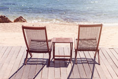 Two sitting place and table in a beach Stock Photo