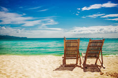 Two sitting place in the beach Stock Image