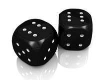Two sixes Black Dice. An illustration of a lucky roll on two black dice showing two sixes royalty free illustration