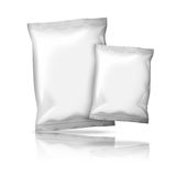 Two sizes of blank realistic foil snack packs Royalty Free Stock Image