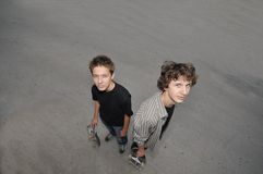 Two skate boarders Royalty Free Stock Photo