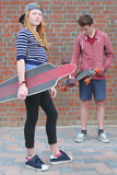 Two skateboarder stock image
