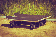 Two skateboards outdoor. Stock Photo