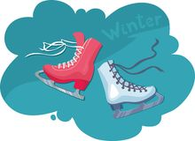 Two skates for figure skating - male and female. Two bright skate for figure skating on turquoise background Royalty Free Stock Images
