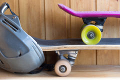 Two skates and helmet. Stock Photo