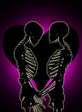 Skeletons With Love Heart Royalty Free Stock Image