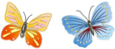 Two sketched butterflies in pastel colors Royalty Free Stock Photo