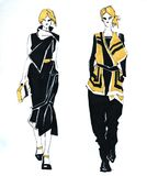 Feminine style fashion sketch. Two sketches of girls in black and yellow royalty free illustration