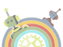 Two Sketchy Robots Popping Up Rainbow gear Stock Image