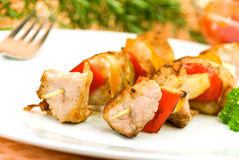 Two skewer with onion and vegetables Royalty Free Stock Images