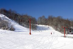 Two Ski Runs. Beginner and experienced skiers. Wisconsin winter vacationland royalty free stock photography