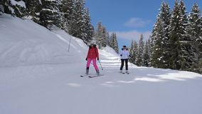 Two skier woman skiing on the slope near together. Two ski ladies go down the slope slowly and gracefully among big snow-covered spruces at a ski resort in stock footage